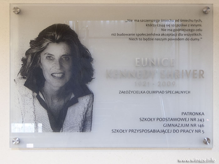 Glass Plaque in memory of  Eunice Kennedy Shriver