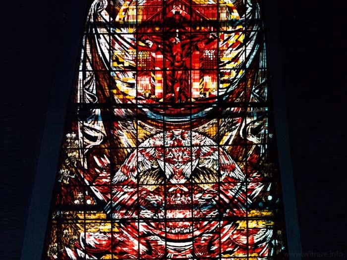 Stained glass windows in the St. Andrew Bobola Sanctuary in Warsaw