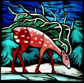 Window 12 Scene1 - Deer by the Source of Living Water