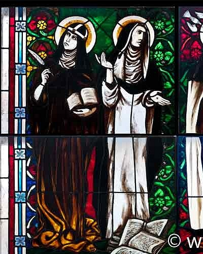 Saints woman: Brygida from Sweden, Katherine Siena, Teresa Avila, Teresa Benedykta from Cross (Edyta Stein) - stained glass windows in Pila church
