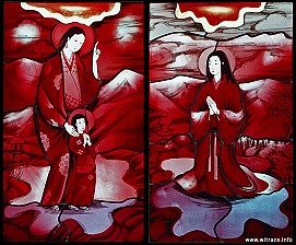 Middle Window Scene 5 and 6 - Saintly women: Isabella with son and Galasia Hosokawa