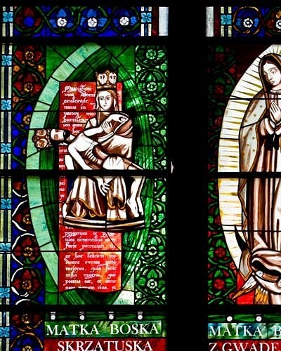 Virgin Mary of Gwadelupe, Virgin Mary Skrzetuska - stained glass windows in Pila church