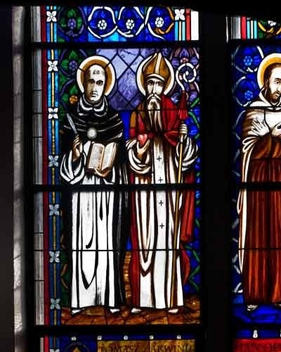 Saints Doctors of Church: Thomas Akvin, Augustyn Hippona, John from the Cross, Ignacy Loyola - stained glass windows in Pila church